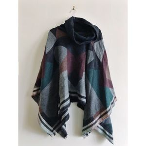 Free People Plaid Poncho